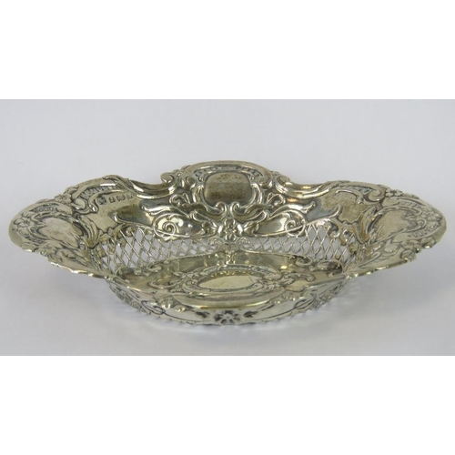 3 - A HM silver ornate rococo style pin tray with pierced sides, Birmingham 1903, 0.94ozt...