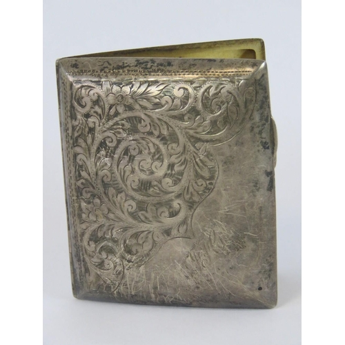 4 - A HM silver cigarette case with gilded interior, elastic in good condition, Birmingham 1938, maker W...