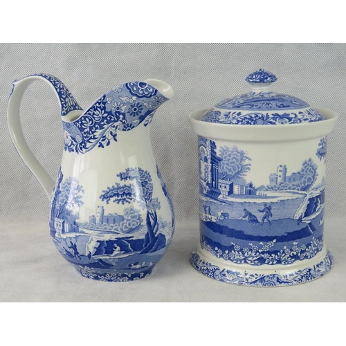 458 - A modern Spode Italian design ewer together with a matching lidded biscuit jar and cover. Two items....