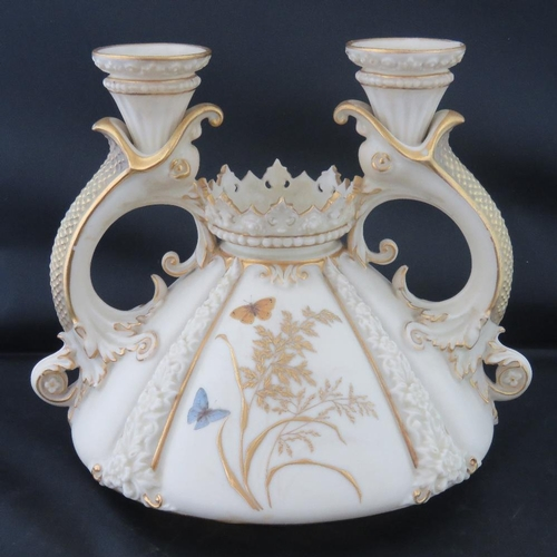 461 - A fine 19th C Royal Worcester candle holder, twin sconce with central larger recess. Gilded througho...