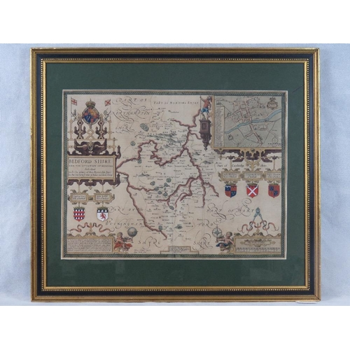 854 - A John Speed 17th century map of Bedfordshire; sight size 39cm x 52cm....