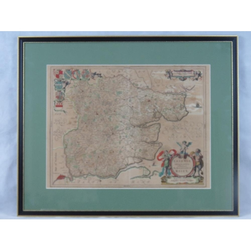 855 - Joannes Jansson, 17th century map of Essex; sight size 39cm X 52cm....