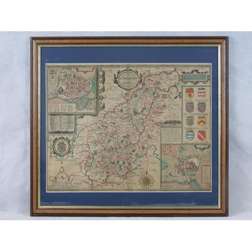 856 - A John Speed map of Northamptonshire dated 1610; sight size 38cm x 50cm....