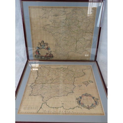 857 - Two 18th century maps by Senex, France (sight size 51cm x 58cm) and one of Spain and Portugal (sight...