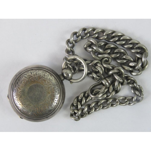 9 - A HM silver sovereign case engraved with floral pattern, Birmingham  1901 and a HM silver Albert cha...