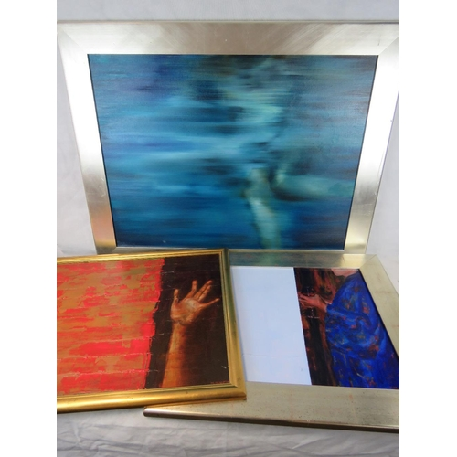 975 - Mary Grant, three untitled works; an outstretched hand acrylic on board (sight size 58cm x 83cm) tog...