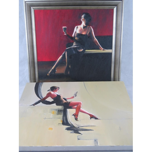 977 - Two late 20th century oil on canvas studies of seated female figures, both signed ''H:'' largest 61c...