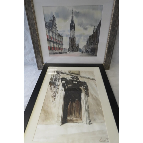 995 - A 20th century watercolour of continental town scene with church (sight size 55cm x 63cm) together w...