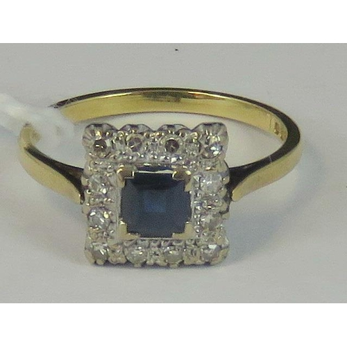104 - An 18ct gold sapphire and diamond ring, central square cut Ceylon blue sapphire approx 0.4ct, surrou...
