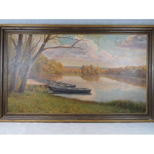 1074 - Russian School. Pyoer (Peter) Reshetnikov. Oil on canvas. Moored boats on autumnal lake. Trees and s...