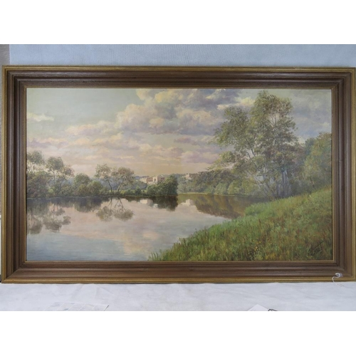 1076 - Russian School. Pyoer (Peter) Reshetnikov. Oil on canvas. Yusupov Palace with lake before. Signed lo...