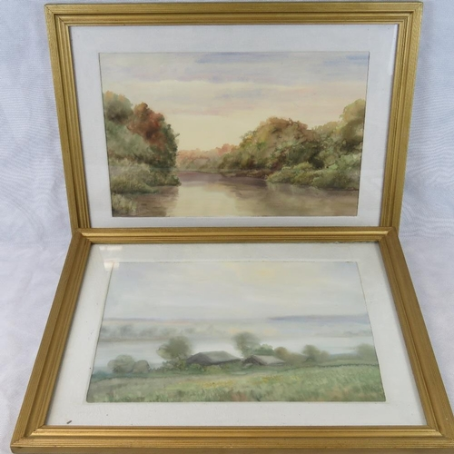1081 - Russian School. Pyoer (Peter) Reshetnikov. Watercolours. River scenes with trees and sky. Dated 1989...