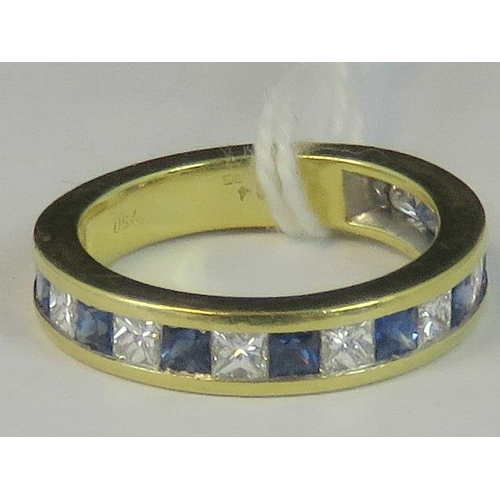 110 - An 18ct gold diamond and sapphire half eternity ring, eight square cut sapphires and nine square cut...