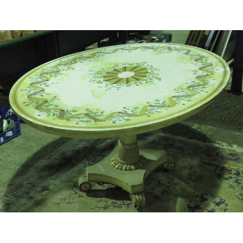 1101 - A delightful and unusual continental hand-painted oval dining table having floral decoration apon ra...