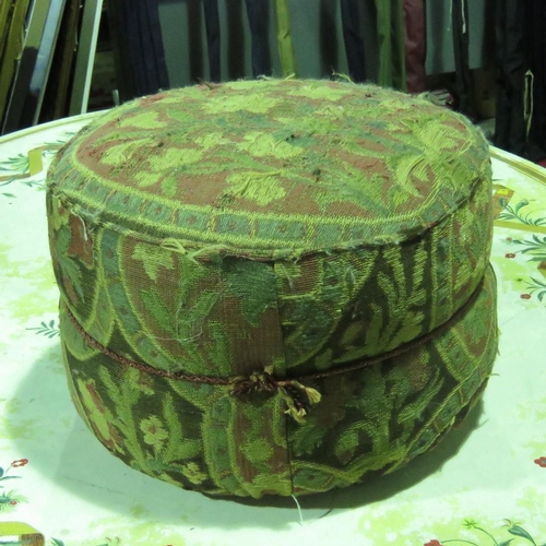 1146 - A vintage cloth pouffe, 45cm diameter. Provenance. From Saddingtin Hall, Leics....