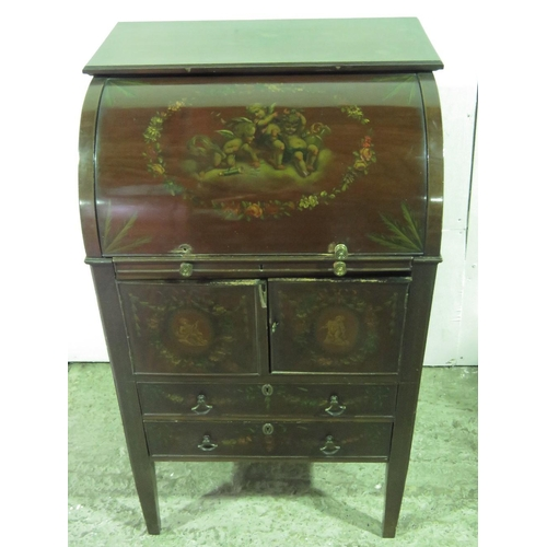 1147 - A late 19th century ladies cylinder bureau with hand painted panels; 58.5cm wide; in need of restora...