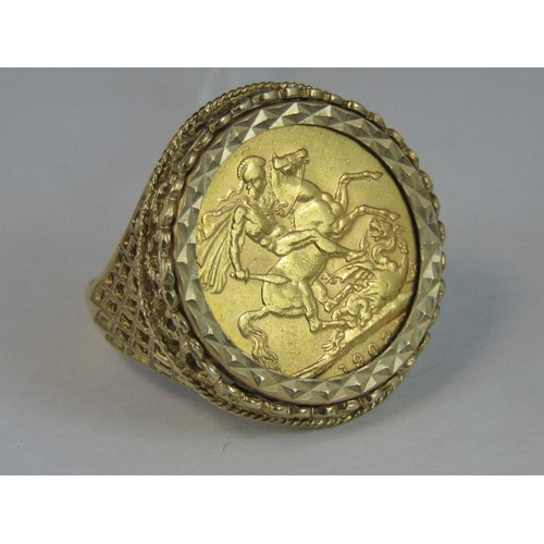 117 - A 22ct gold 1902 full sovereign in a 9ct hallmarked ring setting, 13.61...