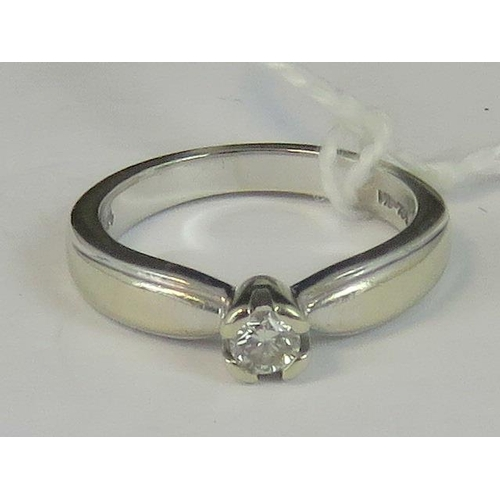 125 - A 14ct white gold and diamond solitaire ring, approx 0.15ct, stamped 14k Mex, size I, 3.72g...