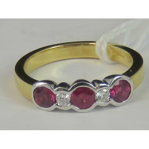 150 - An 18ct gold diamond and ruby five stone ring, three round rubies approx 0.15ct each separated by tw...
