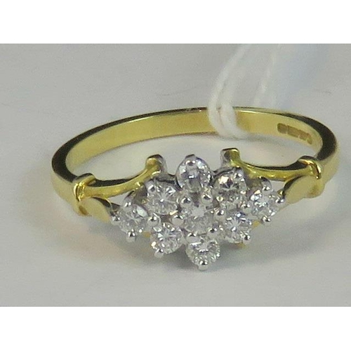 156 - An 18ct gold diamond cluster ring, a diamond shaped cluster of diamonds set in white metal, approx 0...