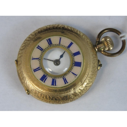 350 - A 14ct gold half hunter pocket watch, case stamped 14k, numbered 452036 and engraved with floral pat...