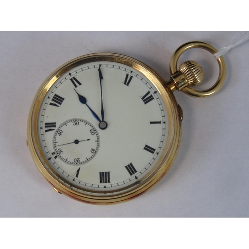 356 - A 18ct gold open face pocket watch, movement by Vine & Thompson, 85 Aldersgate Street, London. No 26...