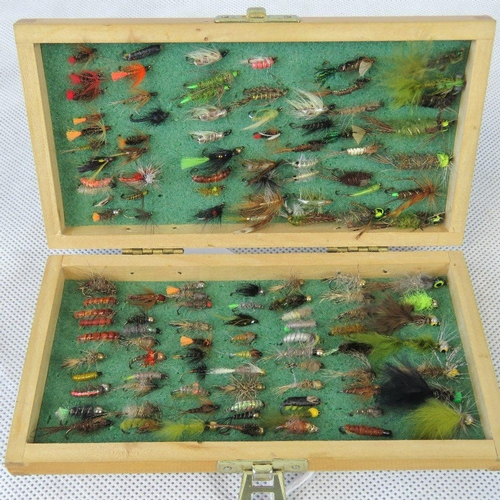 146 - A small wooden fly box opening to reveal approx 120 'secret' small river flies as tied by Bob Church...