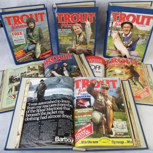 153 - An incomplete set of bound 'Trout Fisherman' magazine C 1977-83. From the personal collection of Bob...