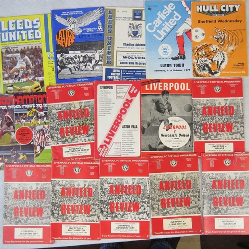 156 - Nine vintage Liverpool FC football programmes from late 1969s to 1970s together with an assortment o...
