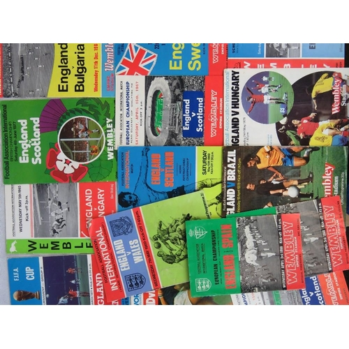 158 - 14 England international football programmes from 1960s -1970s; all home games at Wembley including ...