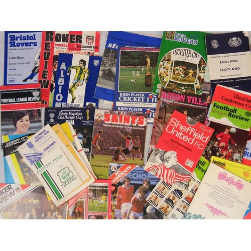 165 - Over 20 football programmes from 1960s-1980s, various teams Aston Villa Sheffield United, Bristol Ro...