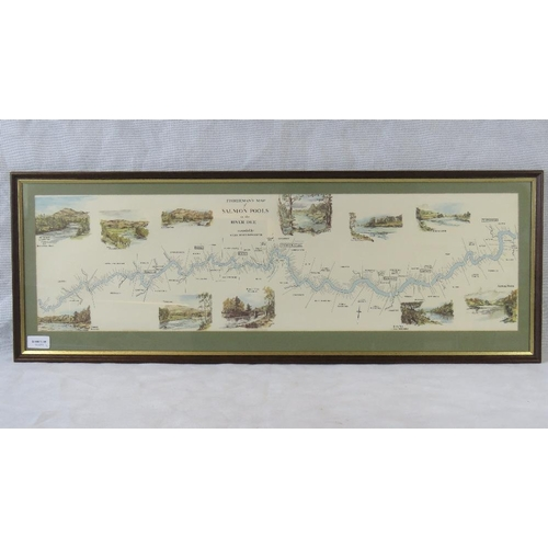 169 - A ''Fisherman's Map of Salmon Pools on the River Dee''; sight size 23cm x 81cm....