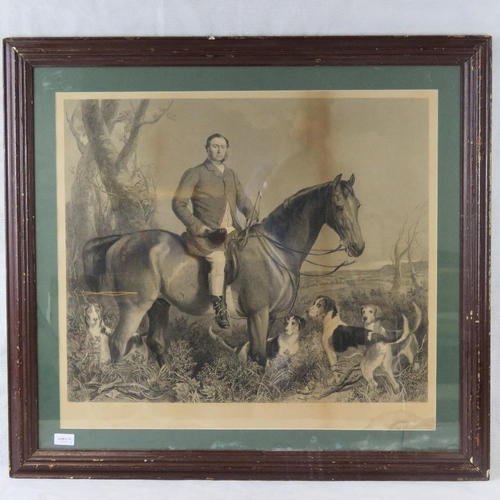 172 - Henry Lemon engraving after Francis Grant of a 19th century gentlemen upon horseback accompanied by ...