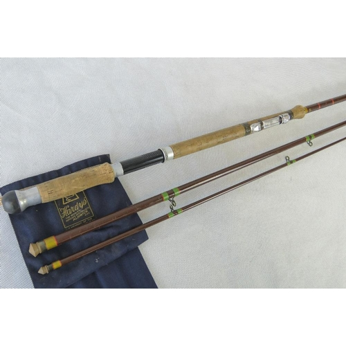 174 - A retro Hardy Jet, 12 1/2'  three piece salmon fly rod, with attachment for spinning reel....