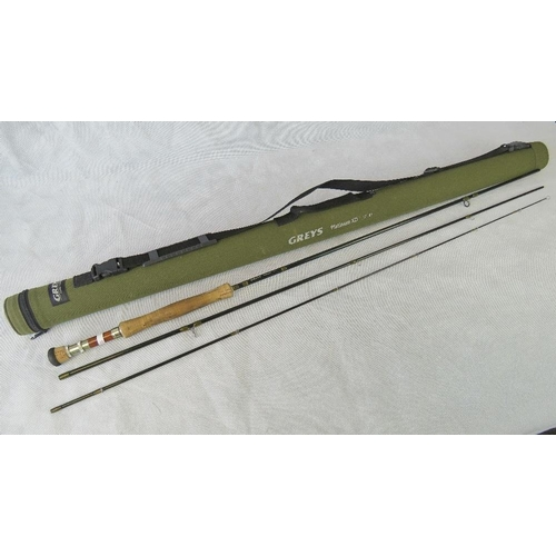 179 - A modern Greys Platinum XD 10'7'' fly fishing rod with padded cylindrical case....