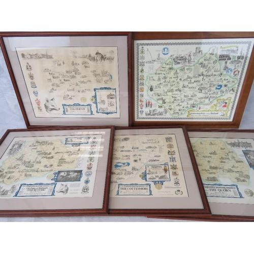 182 - Five Brian Hollingshead English County hunting prints; sight size 34cm x 44cm....