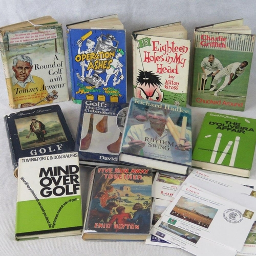 197 - A collection of vintage mainly golf and cricket interest books ''A Round of Golf with Tommy Armour''...