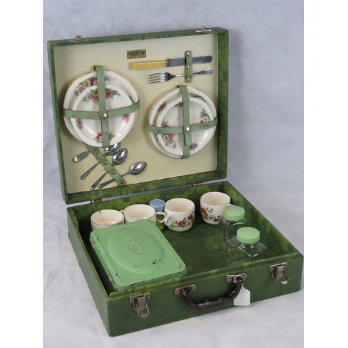 198 - A vintage Brexton picnic case with contents a/f....