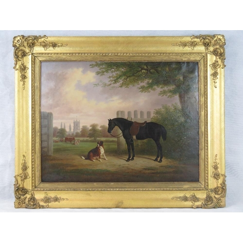 200 - E. Brown (believed to be Brown of Coventry, British 1814-1891) 'Horse and hound with Bulkington Chur...