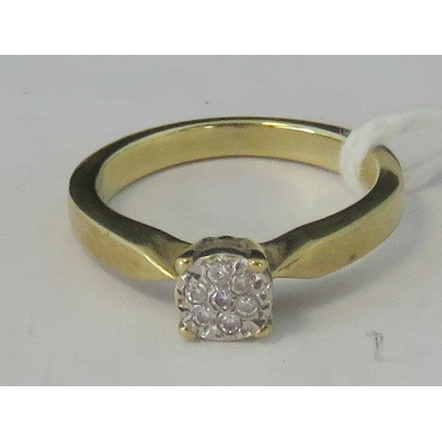 103 - A 9ct gold and diamond cluster ring, 0.05ct total weight set in white metal on a yellow metal shank,...