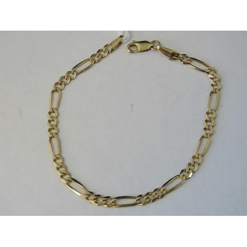 116 - A 9ct gold flat link bracelet, sections of small curb links separated by elongated curb links at reg...
