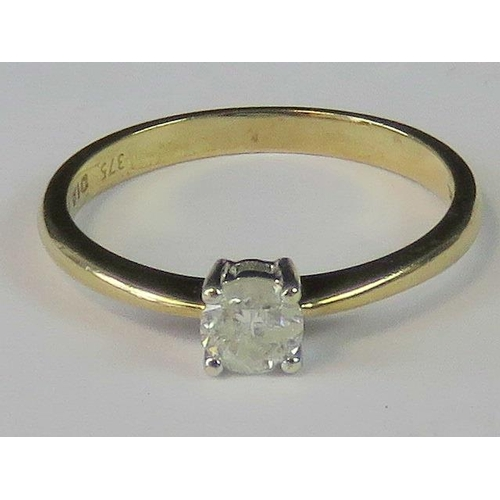 127 - A 9ct gold and diamond solitaire ring, 0.25ct diamond claw set in yellow metal, hallmarked 375, 1.64...