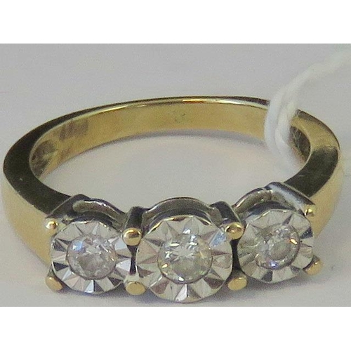 157 - A yellow metal and three stone diamond ring, three diamonds approx 0.08ct each, illusion set in whit...