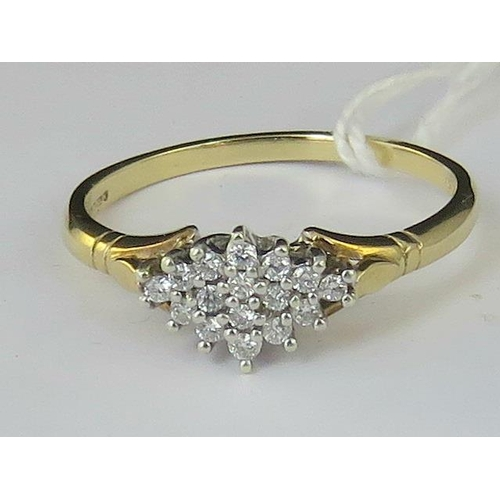 159 - A 9ct gold diamond cluster ring, diamonds set in white metal on yellow metal shank, hallmarked 375, ...