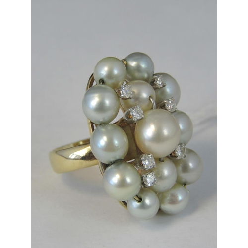 166 - A 14ct gold pearl and diamond cocktail ring, thirteen pearls and seven diamonds approx 0.07ct each, ...