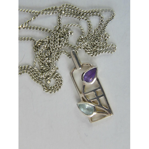 195 - A silver Rennie Mackintosh style pendant set with teardrop aquamarine and amethyst, stamped 925, 2.2...