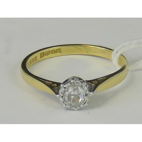 238 - An 18ct gold and diamond solitaire ring, illusion set diamond approx 0.2ct, yellow metal shank hallm...