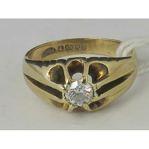 244 - A 9ct gold and diamond gypsy ring, diamond approx 0.2ct set in yellow metal, hallmarked 375, size I ...