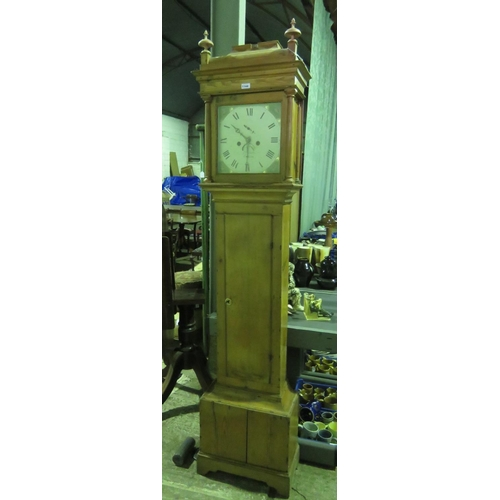 905 - An unusual pine-cases 30 hour long case clock. The painted face marked 'Pollard, Crediton' upon, com...