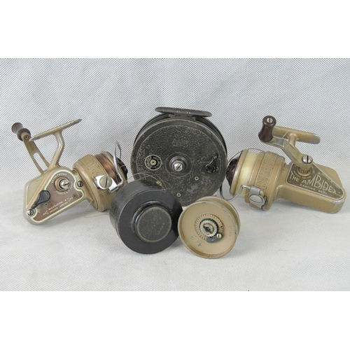 136 - Three retro and vintage Young & Sons coarse fishing reels: two Ambidex casting reels and a Rapidex a...